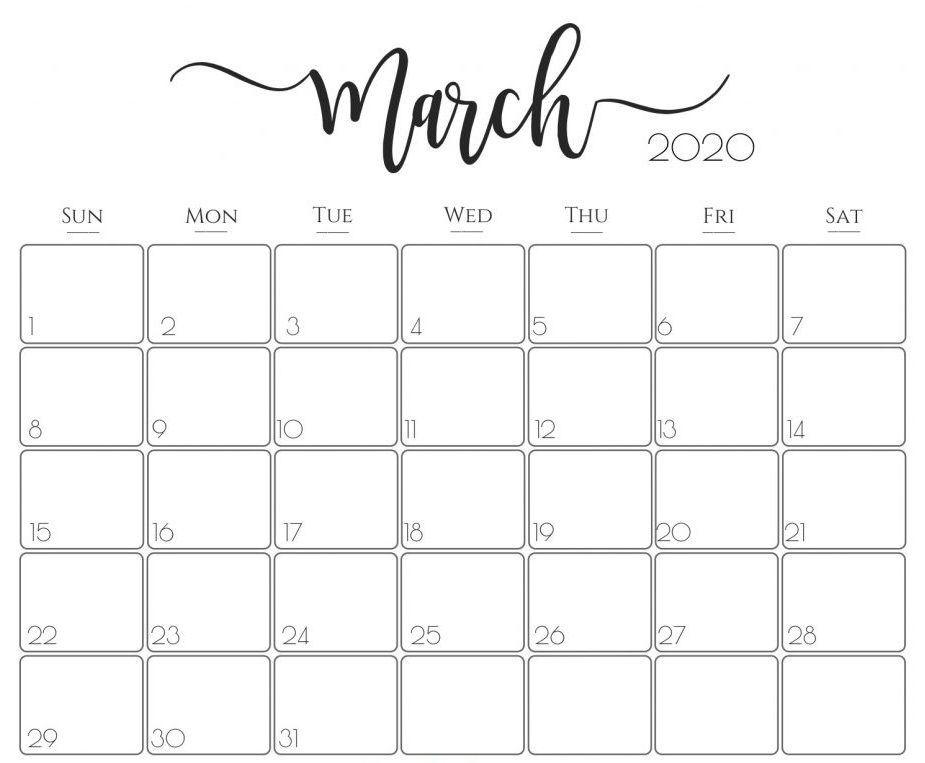Editable March 2020 Calendar Template Printable in 2020 ...