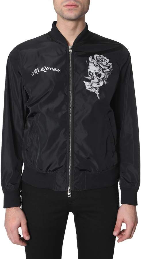 1840754a4 Alexander McQueen Skull And Rose Printed Bomber Jacket in 2019 ...