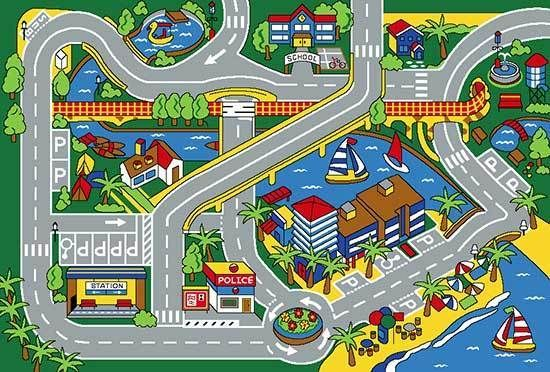 3x5 area rug play harbor road driving around port kids - Alfombra circuito coches ...