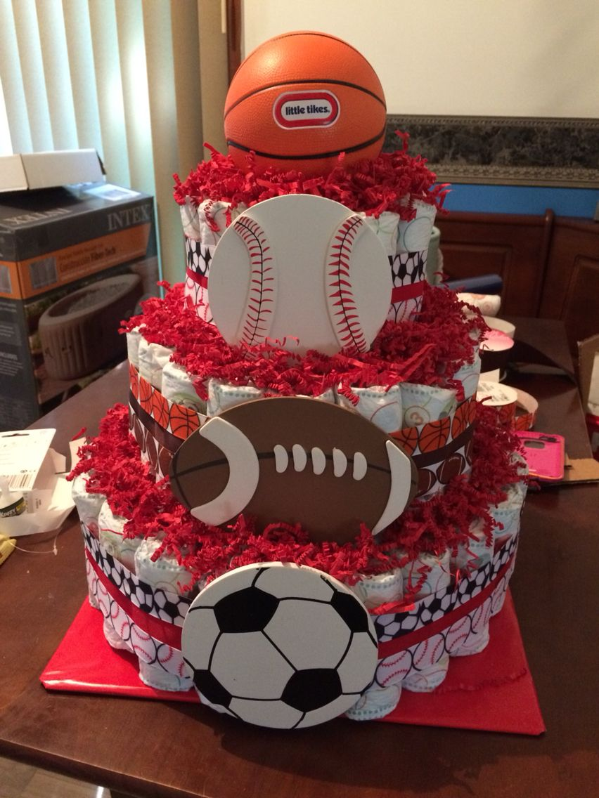 how to make a sports themed diaper cake