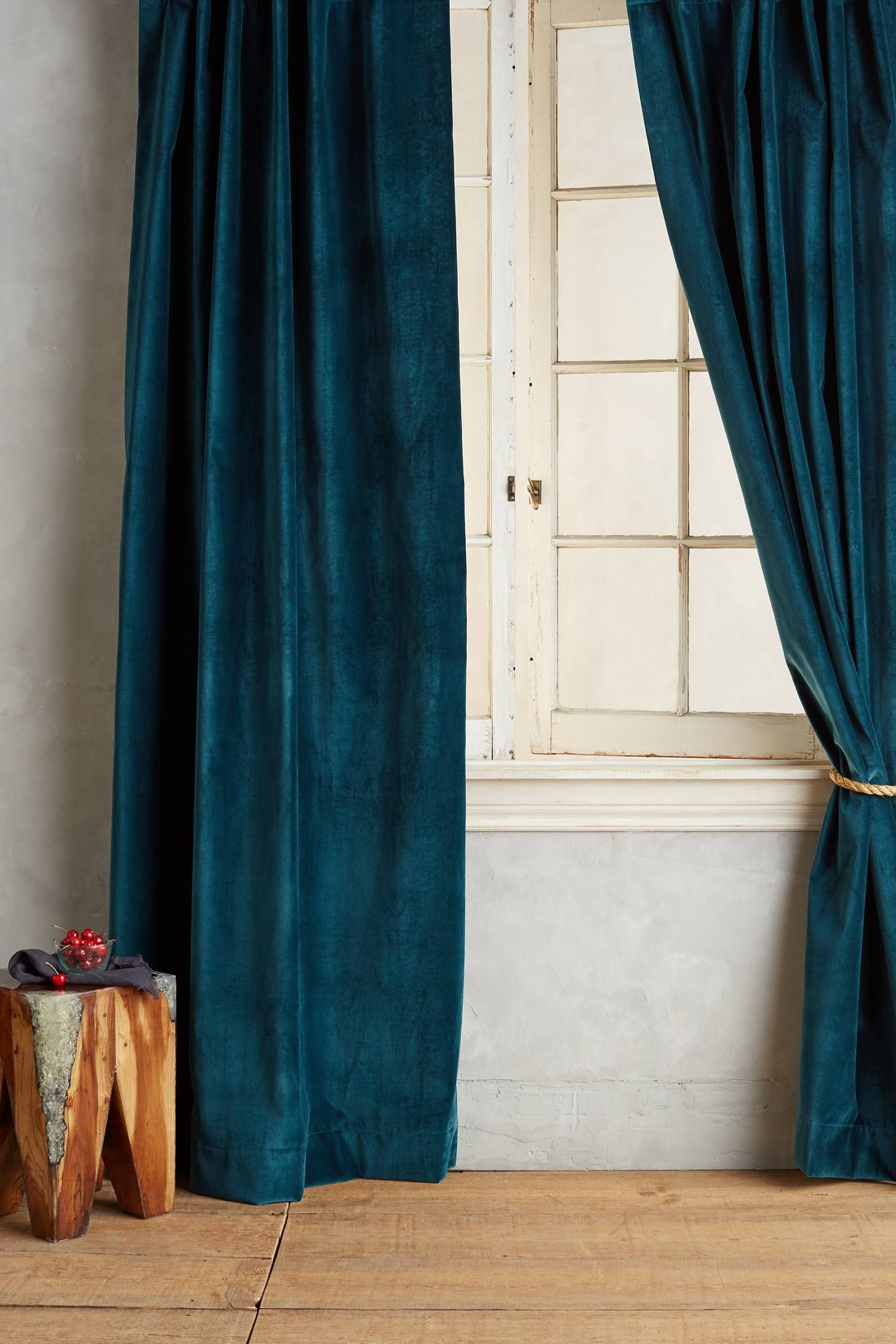 Kelly green velvet curtains - Teal Outer Curtain Washed Velvet Curtain Http Www Anthropologie
