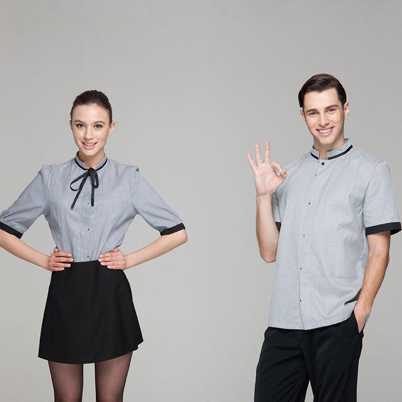 c28ecdd4109 Fashion Restaurant Hotel Uniform Women Female Waitress Blouse Men Male  Waiter Shirt Short Sleeve Grey Slender Stripe Color
