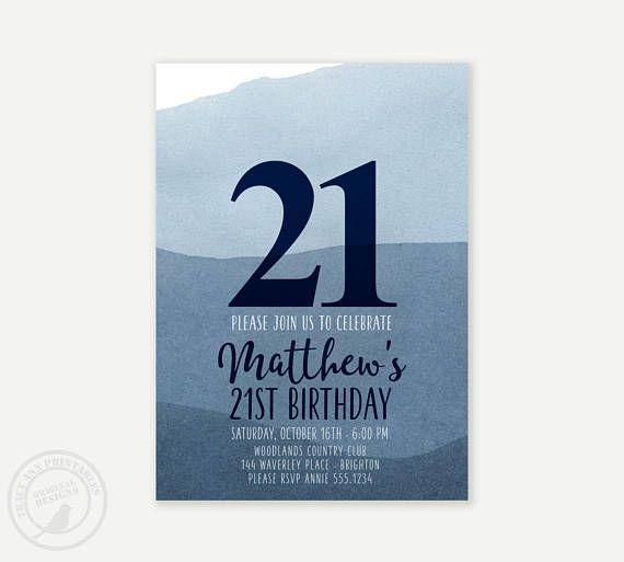 Male Birthday Invitation Watercolor Navy Blue
