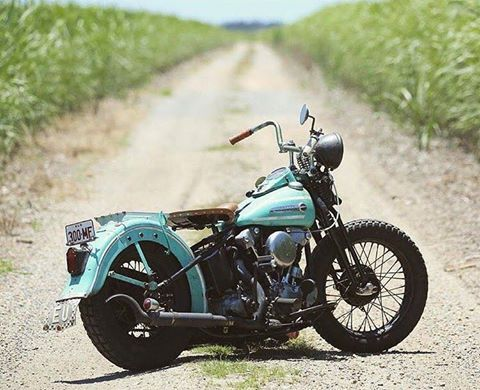 Harley Davidson Knucklehead original bike with springer and fishtail exhaust tips.
