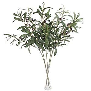 Photo of JAROWN 5 pcs 28″ Green Olive Artificial Plants Branches Fruits Fake Flowers Branch Leaves for…