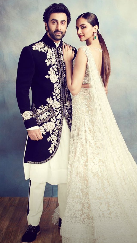 Ranbir Kapoor And Deepika Padukone Make For A Majestic And Royal Pair In This Photo Wedding Dress Men Bridal Outfits Celebrity Wedding Dresses