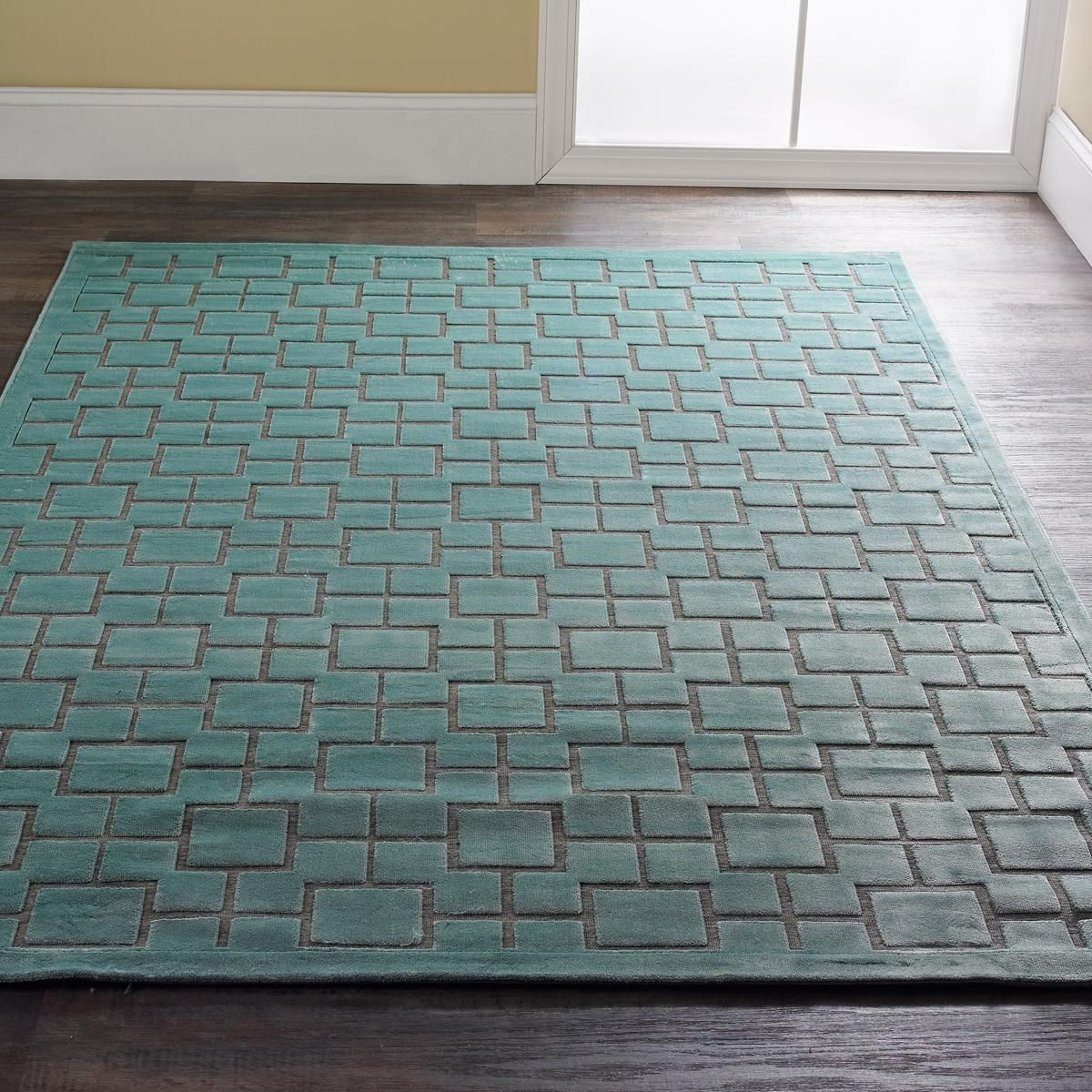 Silken Squares Geometric Rug Silky Squares Form A Techy