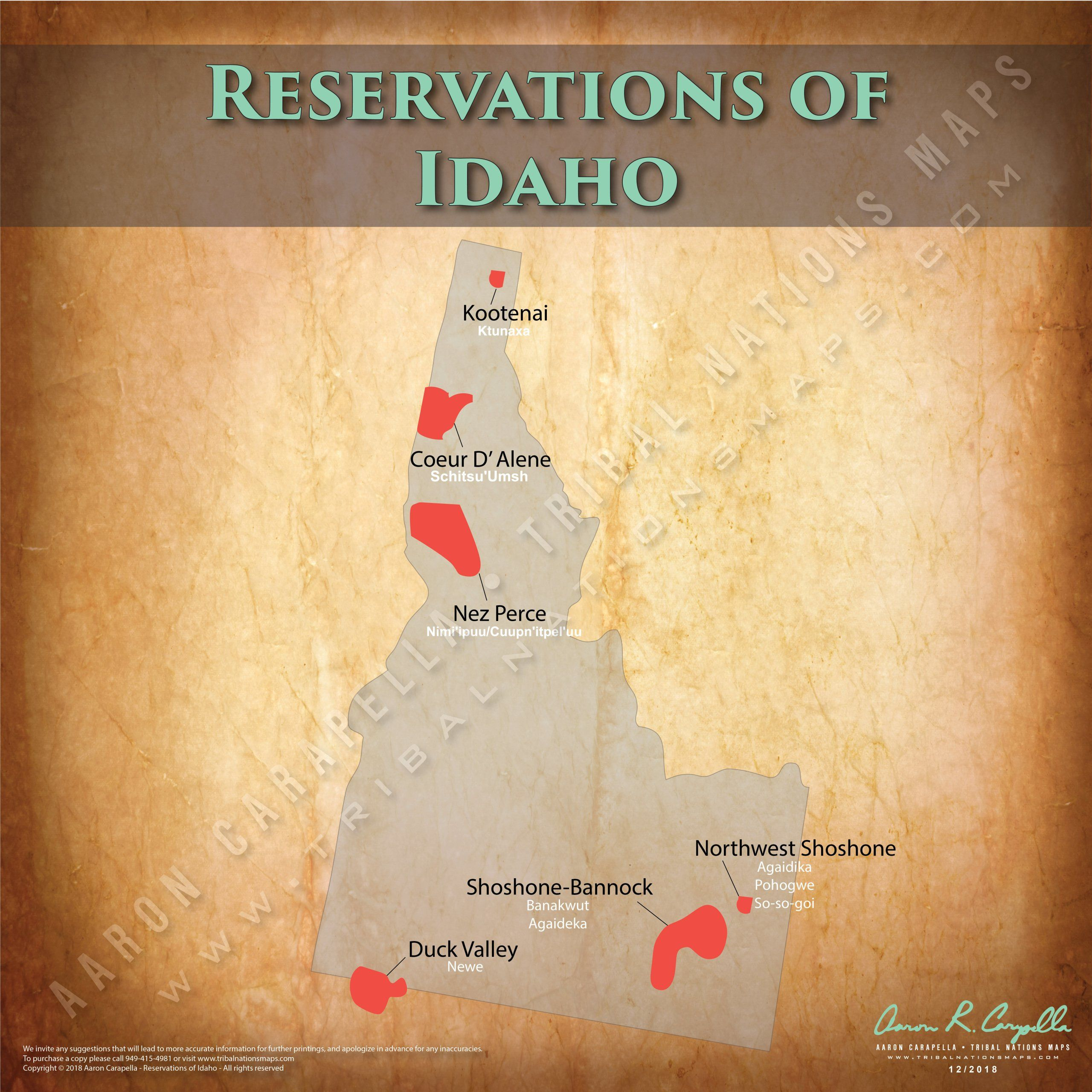 Idaho Indian Reservation Map Poster Native American Map