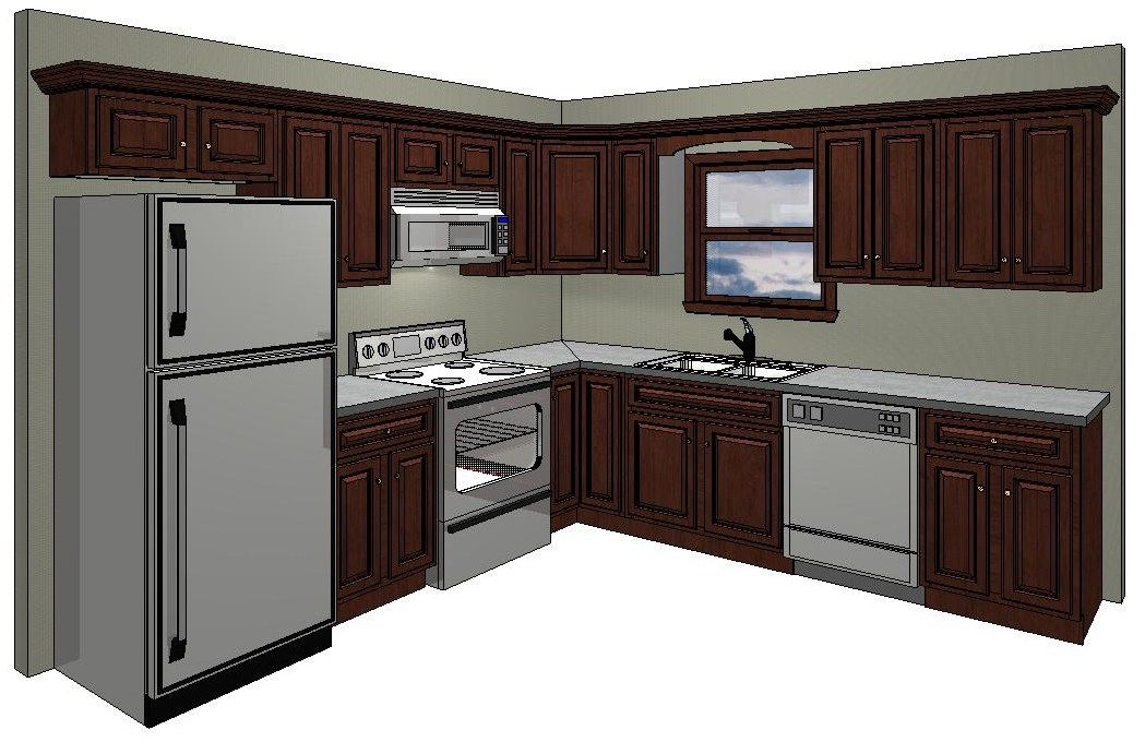 10x10 kitchen floor plans 10 x 10 kitchen layout with for Small kitchen layout with island