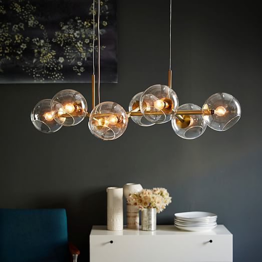 3d Model Globe Pendant Lamp By West Elm: Staggered Glass Chandelier - 8-Light