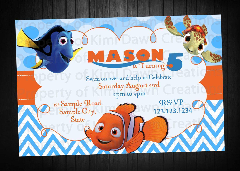 Finding Nemo Birthday Invitation. Digital Delivery. Custom by ...