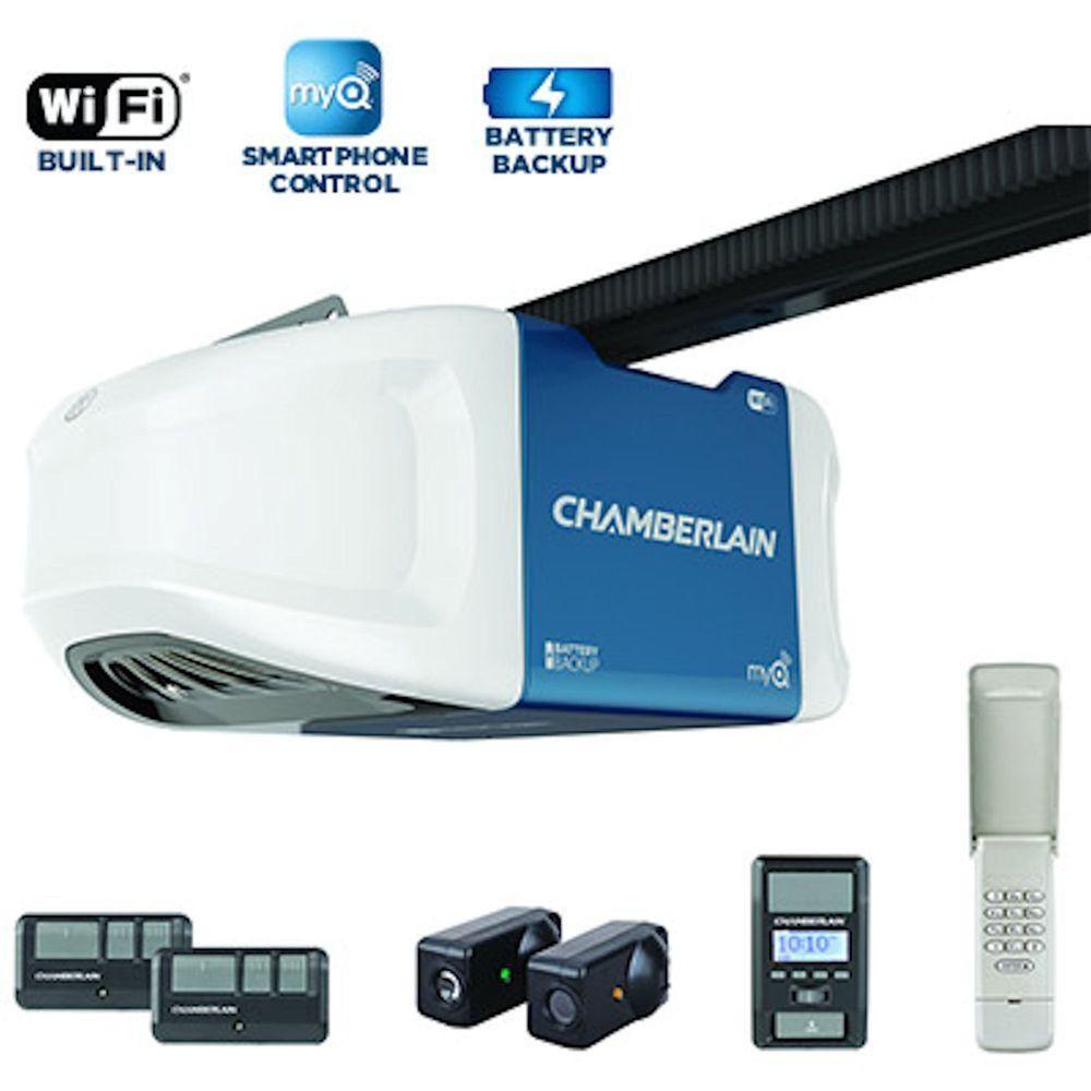 Chamberlain 1 1 X2f 4 Hps Smartphone Controlled Wi Fi Belt Drive Garage Door Opener With Chamberlain Garage Door Opener Garage Doors Quiet Garage Door Opener