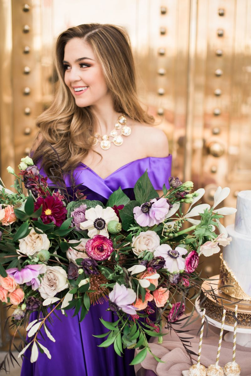 Love This Bold Necklace With The Purple Dress Weddings
