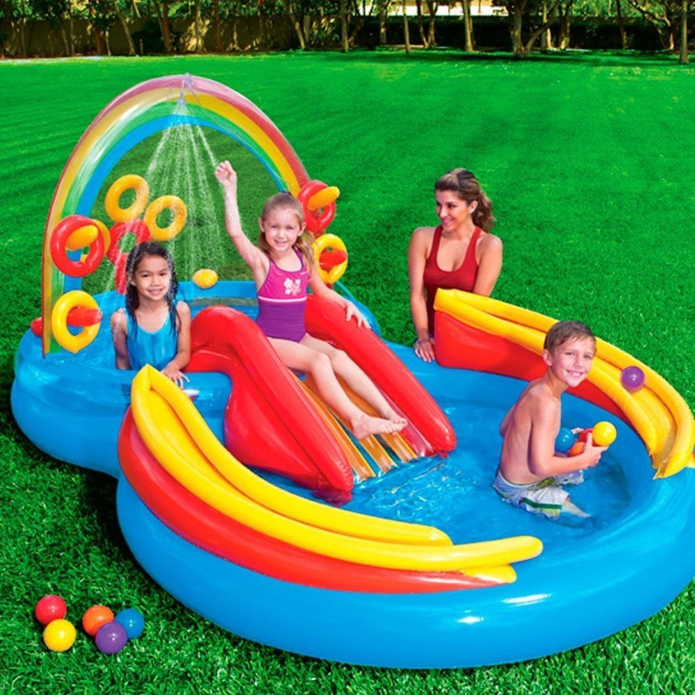 Inflatable Swimming Pool Rainbow Ring Kiddie Toddler Outdoor Play