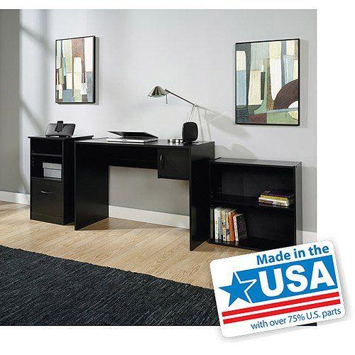 3piece Mainstays Home Office Furniture Value Bundle Computer Workstation Desk Adjule Shelf Bookcase Storage Cabinet With