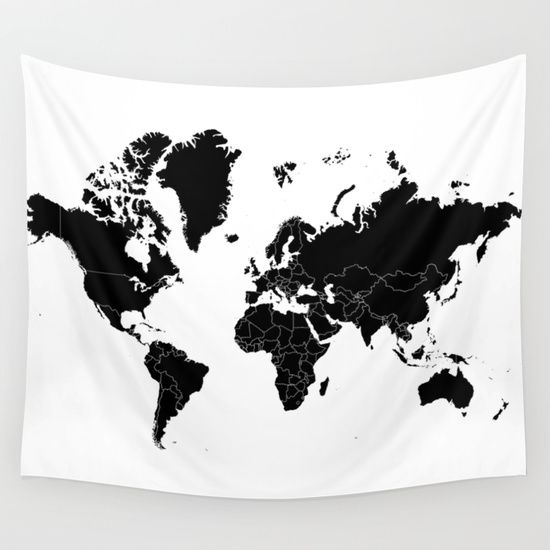 Minimalist world map black on white background wall tapestry minimalist world map black on white background wall tapestry gumiabroncs Choice Image