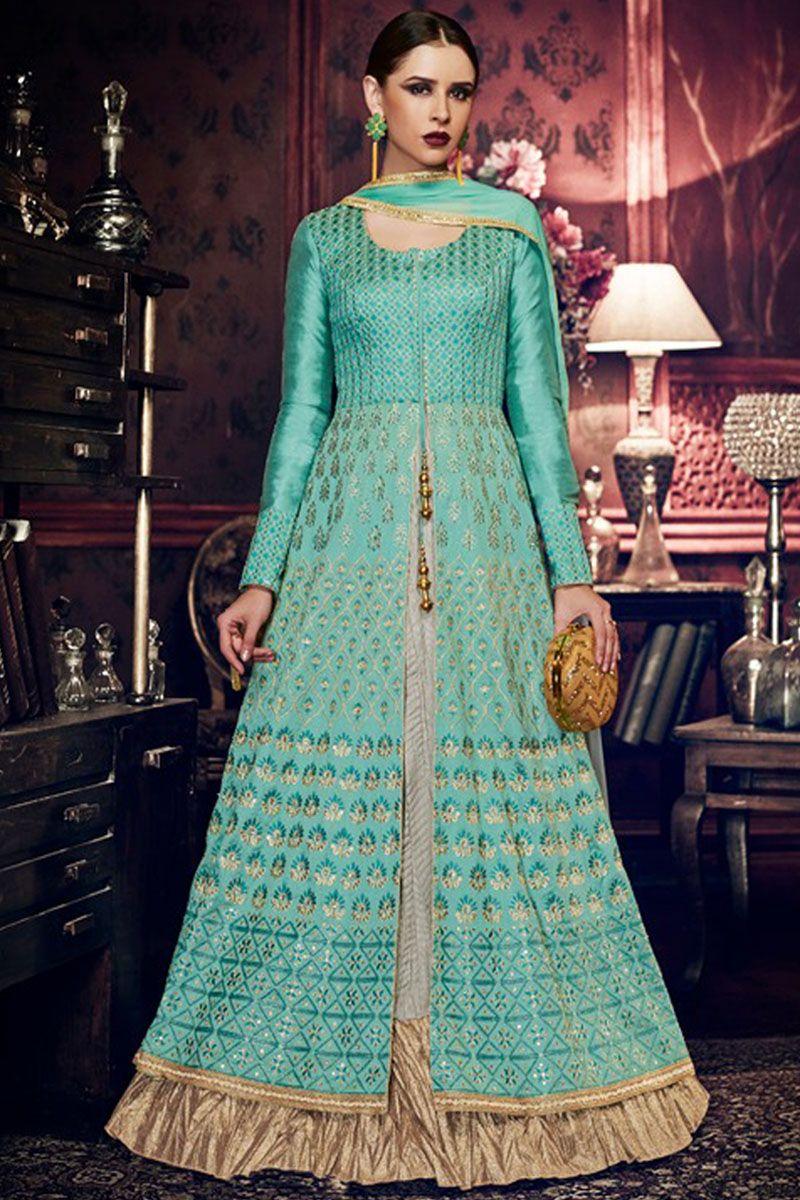Beautiful Light Blue Silk Fabric Party Wear Style Indian Women ...