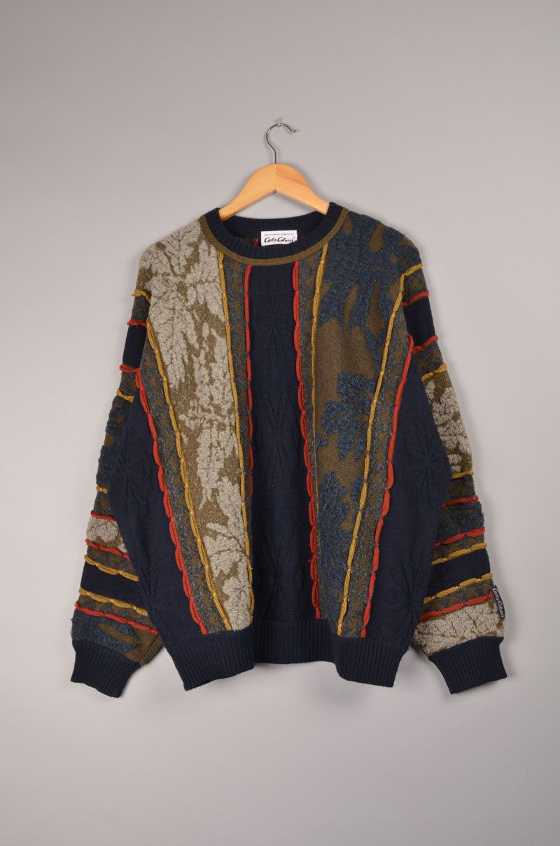 Carlo Colucci Look Crewneck Coogi Cardigan 80 S 90 S Retro Sweater Hoodie Vintage Clothing Online Wholesale Clothing Wool Clothing