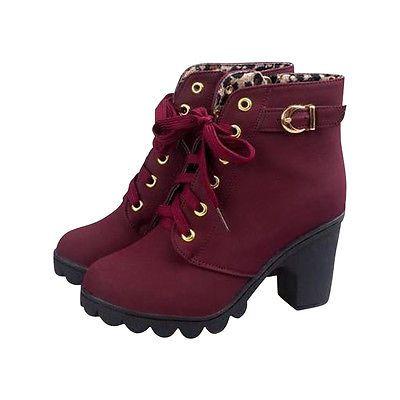 Damenstiefel Stiefeletten Women Ankle Boots Schnür Pumps Blockabsatz Herbst leo fall autumn