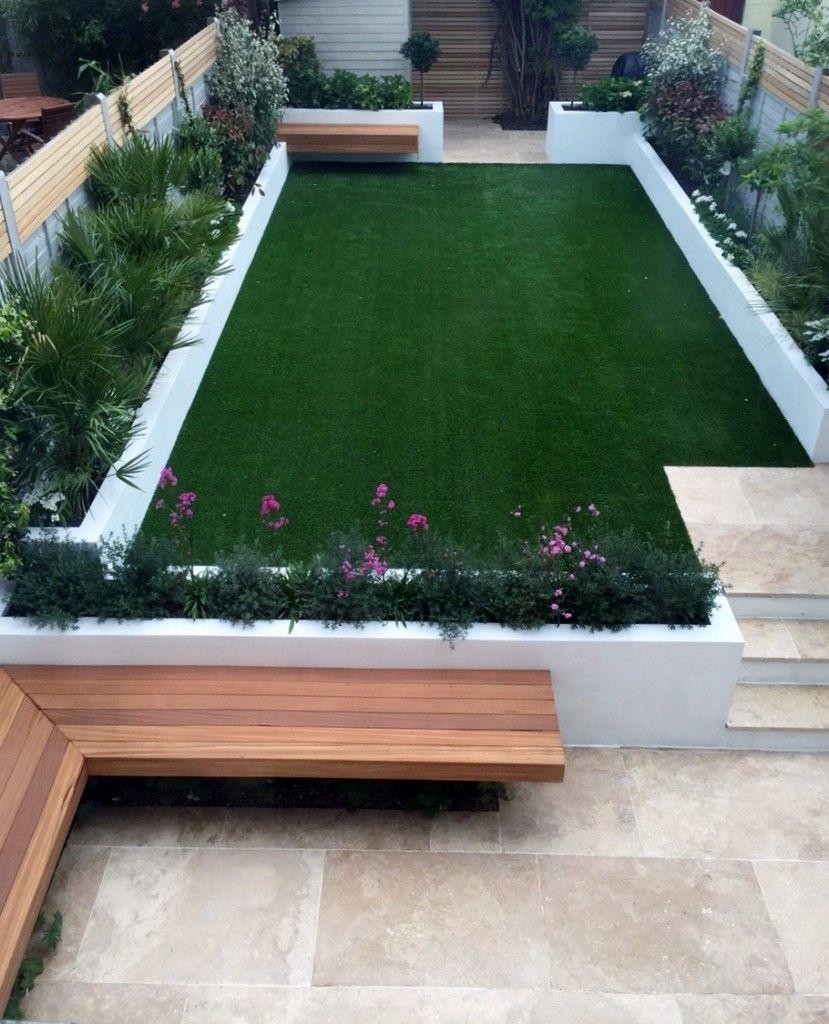 urban low maintenance garden raised render block beds artificial fake easi grass travertine beige cream paving