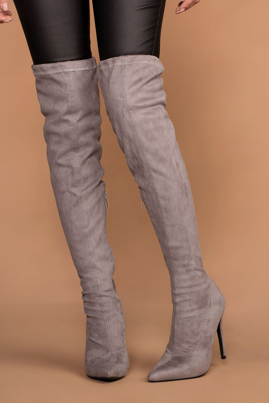 Jackie grey suede over the knee boots. | Boots, Grey thigh