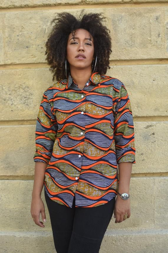 "Shirt Wax geometric blouse sleeves long ""Maya"", orange, multicolor shirt, shirt, shirt color, beauty, womens fashion"