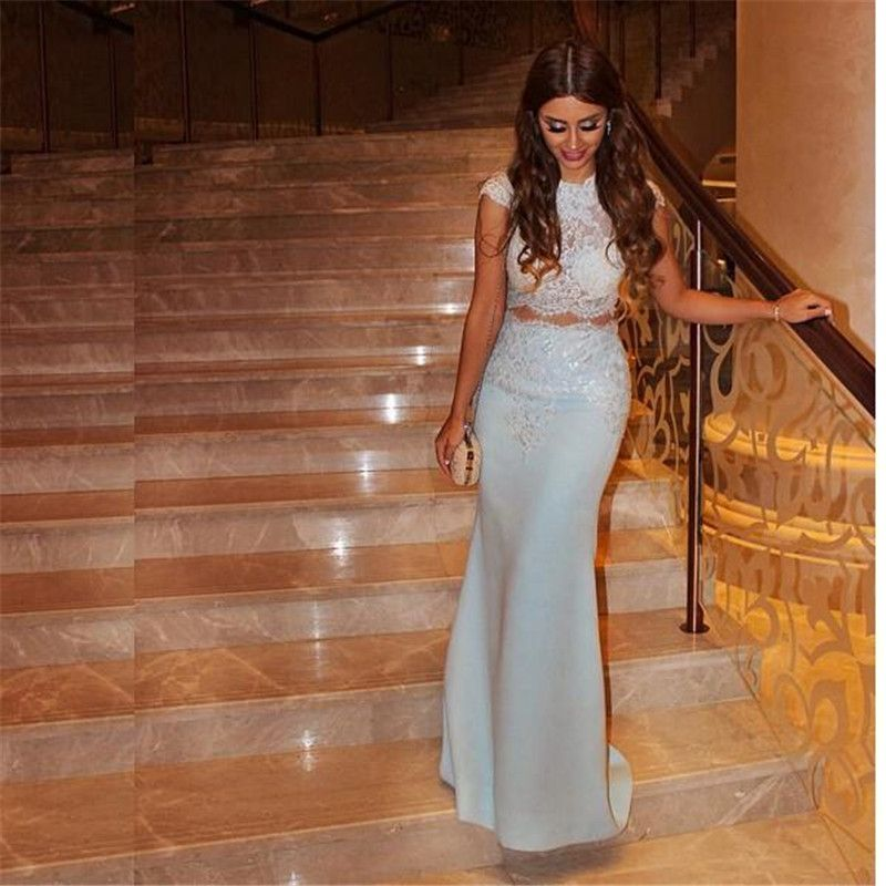 Click To Buy Two 2 Piece Evening Dresses Mermaid 2016 Lace
