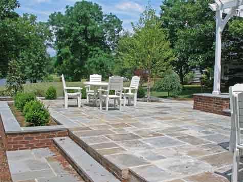 Two Level Bluestone Patio Costs Bluestone Patio Outdoor Patio Patio Makeover