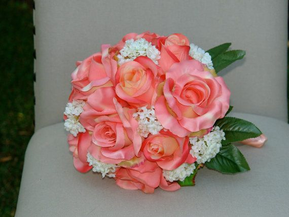 custom listing for shannon bridal bouquet wedding flowers peach coral roses and white little flowers