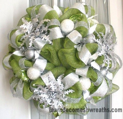 Deco Mesh Christmas Wreath Green Silver White Christmas