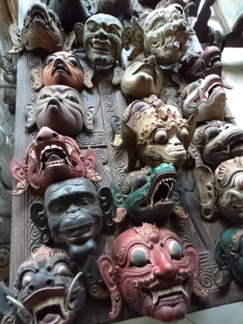 Use as a wall collage or 3d sculptural wall installation.  Original Indonesian Masks - Bali Sourced.com