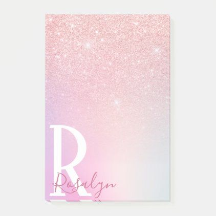 Elegant modern girly ombre pink rose gold glitter post-it notes | Zazzle.com