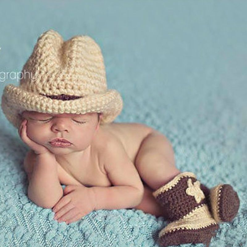 New arrival newborn baby photo props floral pattern cotton material cowboy hat shoes baby photo accessories unisex high quality affiliate