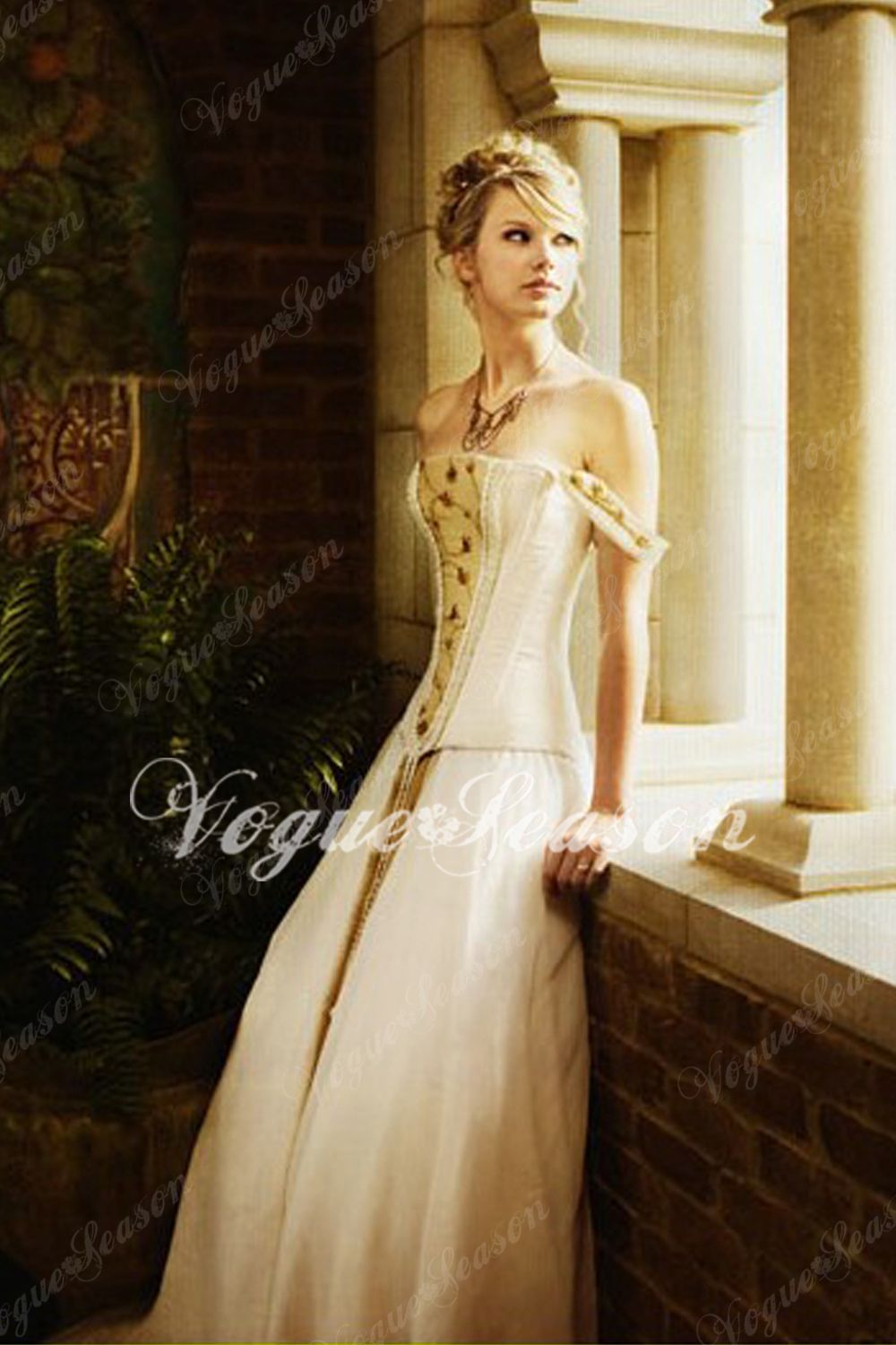 Taylor swift photos taylor swift swift and prom gorgeous a line off the shoulder floor length chapel wedding dress inspired by swift in the love story ombrellifo Images