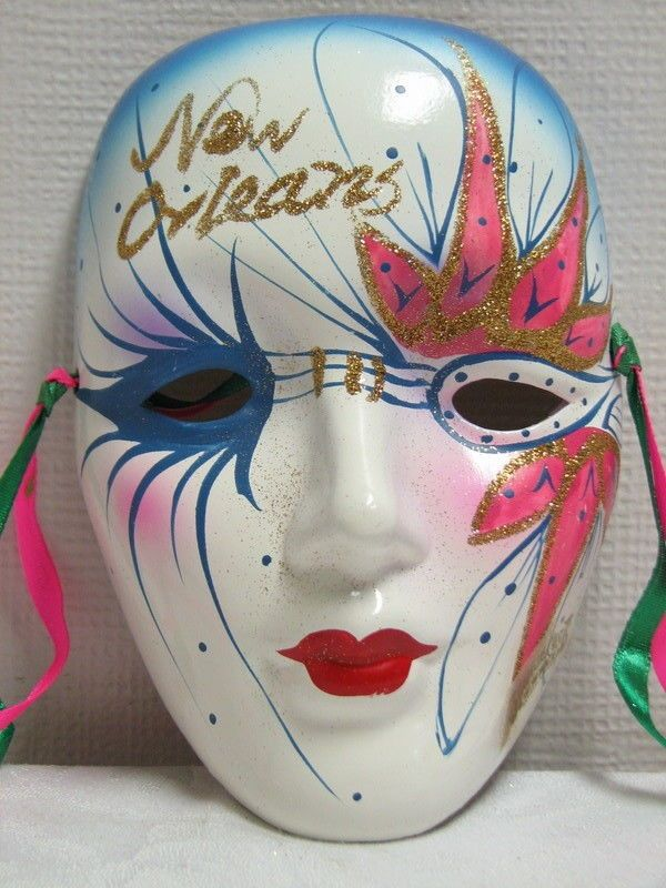 "Porcelain Masks Decoration New Orleans Mask Mardi Gras Ceramic 625""decoration Wall Hanging"