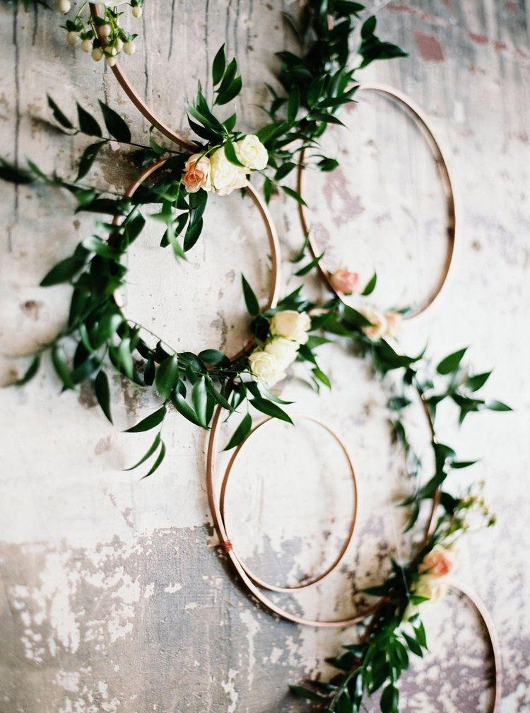 Floral hoop wedding ceremony altar arrangement made from cross ...