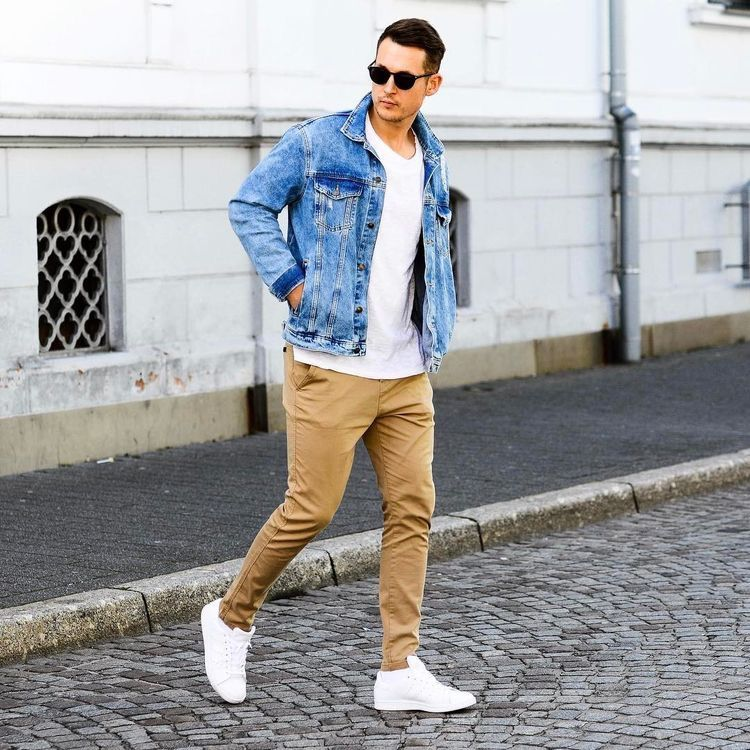 e0337a68d9 Street style with a denim jacket white t-shirt tan chinos with white  sneakers and sunglasses  menswear  menstyle  streetwear  denimjacket   whitesneakers ...