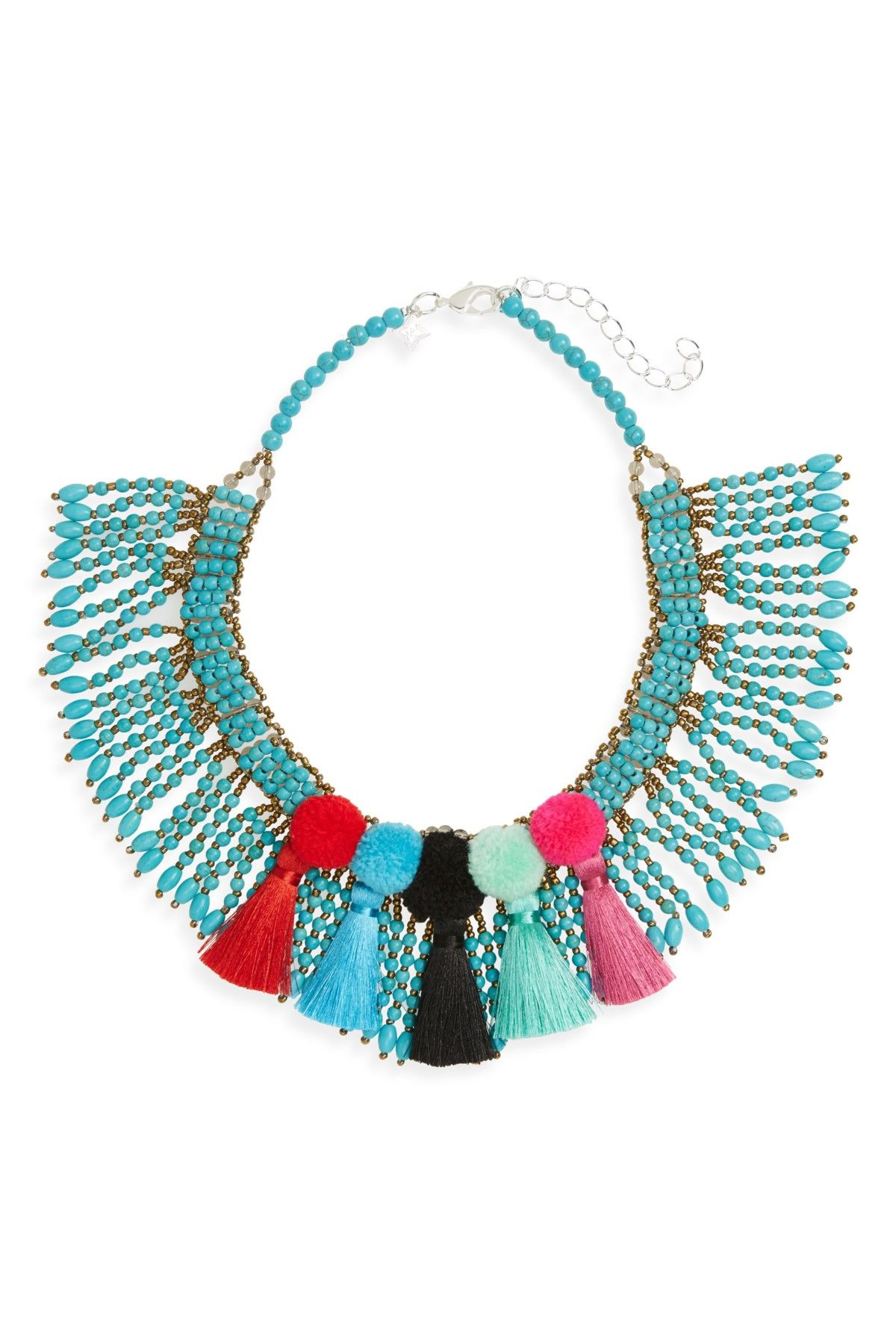 df7c35f7b Beaded Pompom Tassel Statement Necklace | Products | Beaded ...