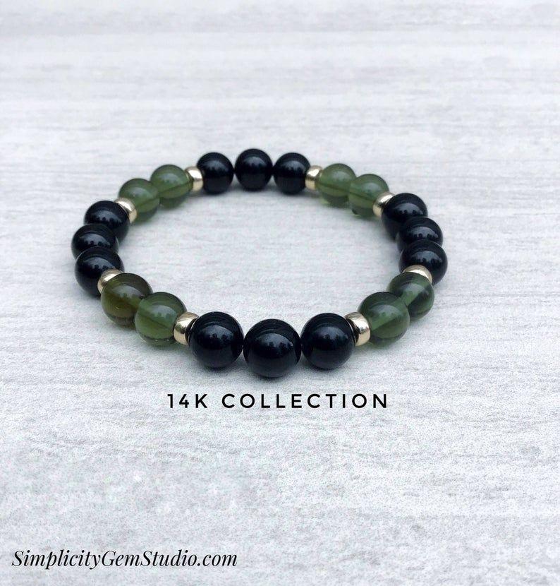 Moldavite Black Tourmaline Bracelet