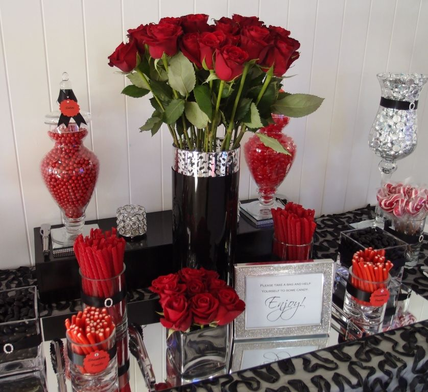 Inspiration: Mirror On Candy Table With Roses. Red And Black Candy Buffet