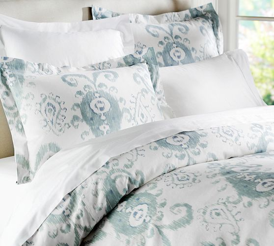 Mia Ikat Duvet Cover & Sham - Porcelain Blue | Pottery Barn  Finally picked out bedding!!!  Love it.