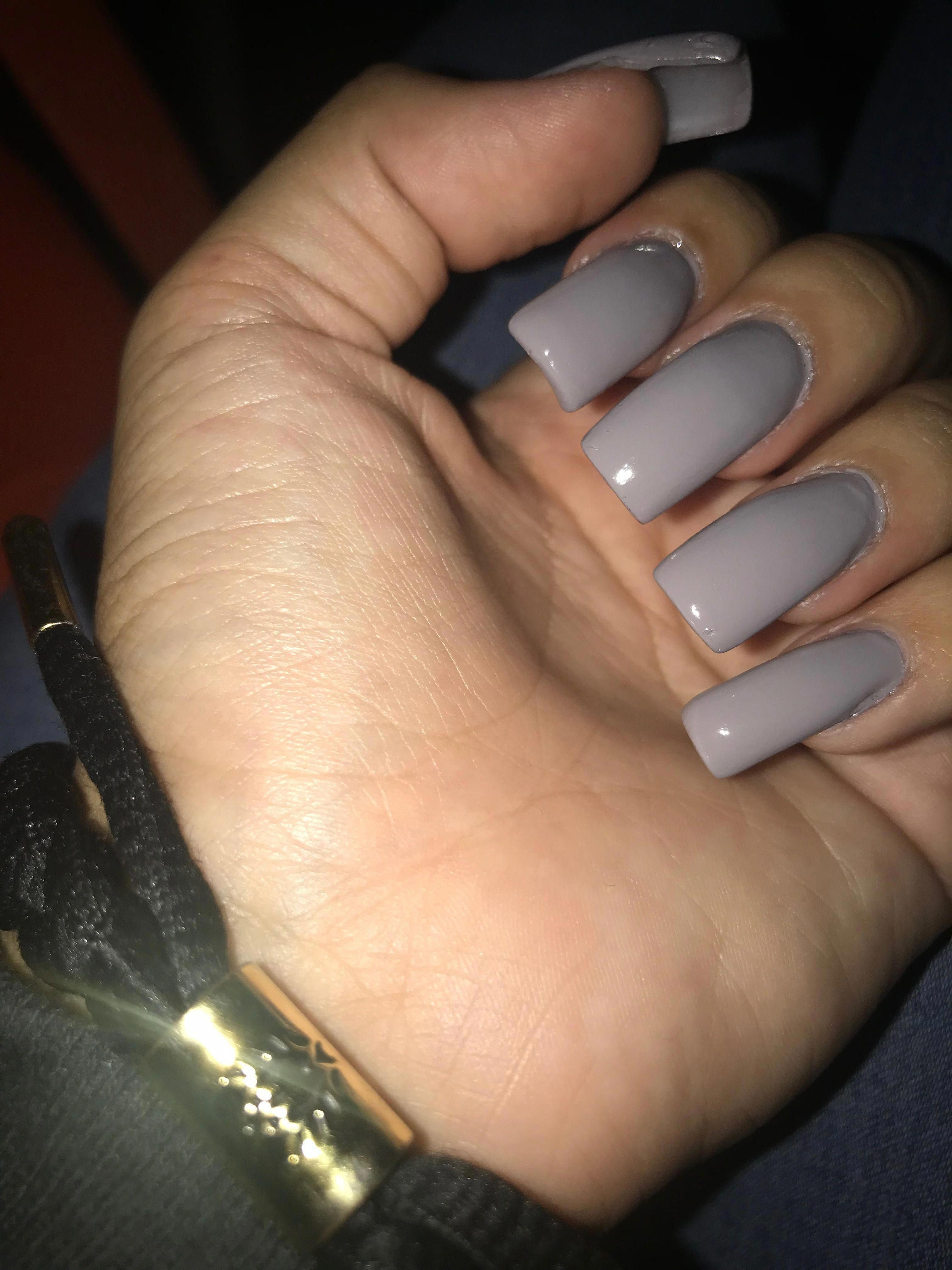 Cool grey, squared acrylic nails #typesofnaildesigns # ...