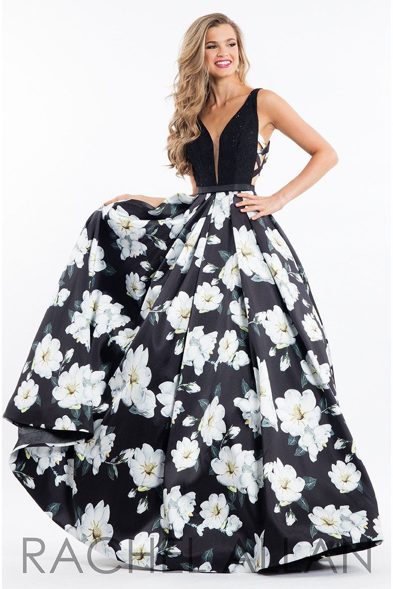 Rachel allan black open back floral ball gown prom dress