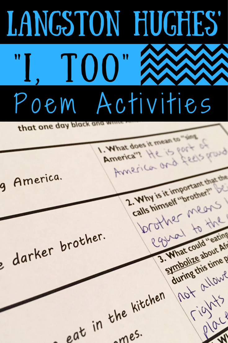 poetry analysis poem too langston hughes Decades after john donne, william carlos williams and langston hughes, poetry is having a moment again, as clearly evidenced by the immense popularity of rupi kaur and her peers.