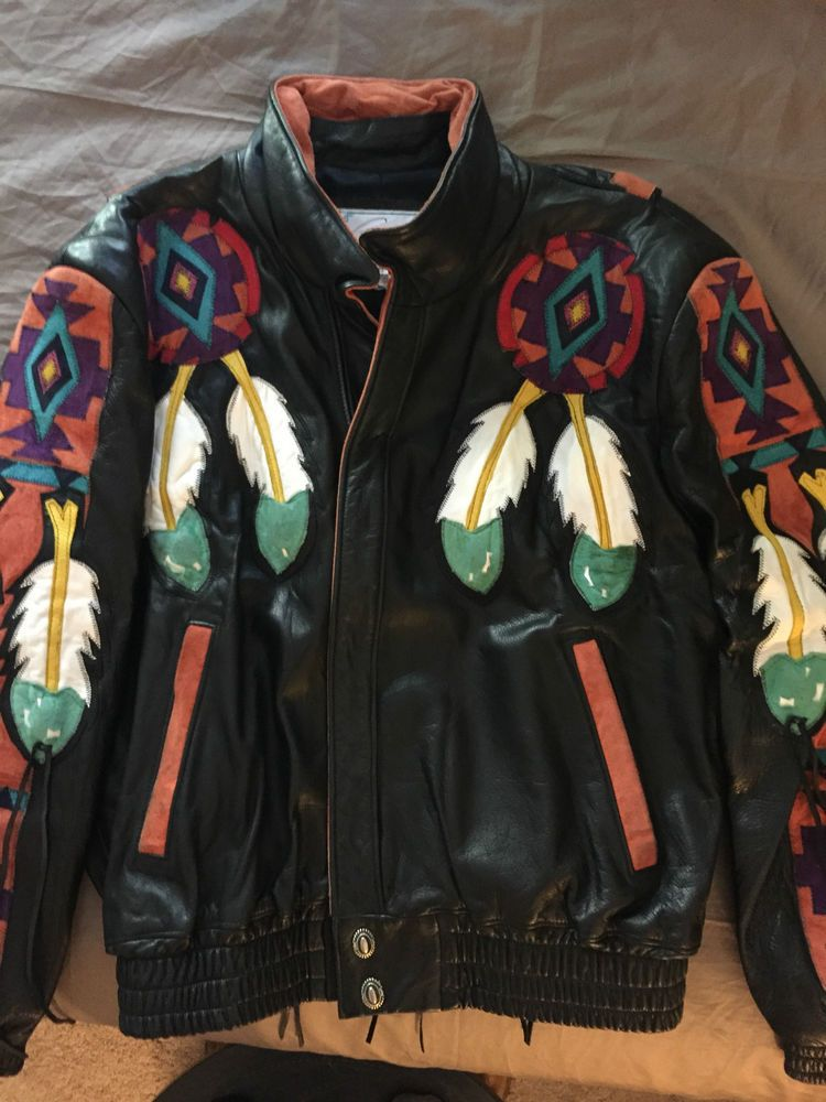 ARTURO mens leather jacket native american indian design