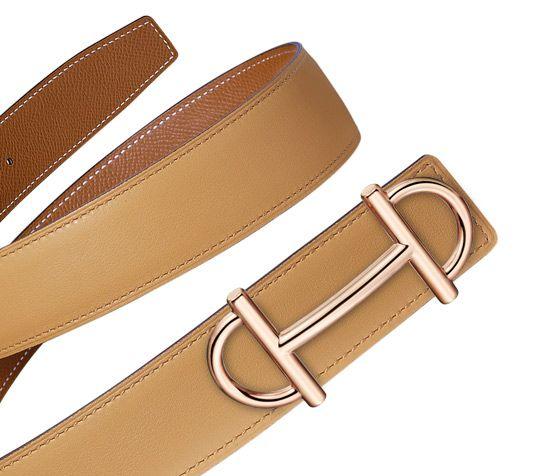 "Beltkit_32_women   Belt Kits Hermès 32 Mm Women   Hermès, Official Website Hermes 32 mm women's leather strap in curry swift calfskin/gold epsom calfskin (strap width: 1.25"") & Hermes 32 mm women's buckle in rose gold plated metal (width: 1.25"")"