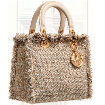 ~` lady dior stone tweed bag with fringe `~