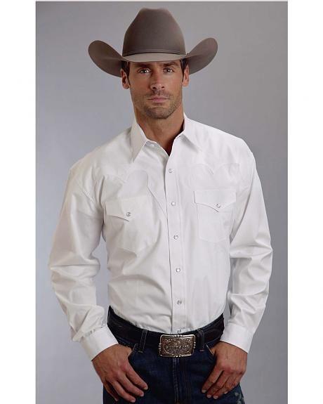 Stetson Mens White Cotton Optic Poplin L/S Western Shirt