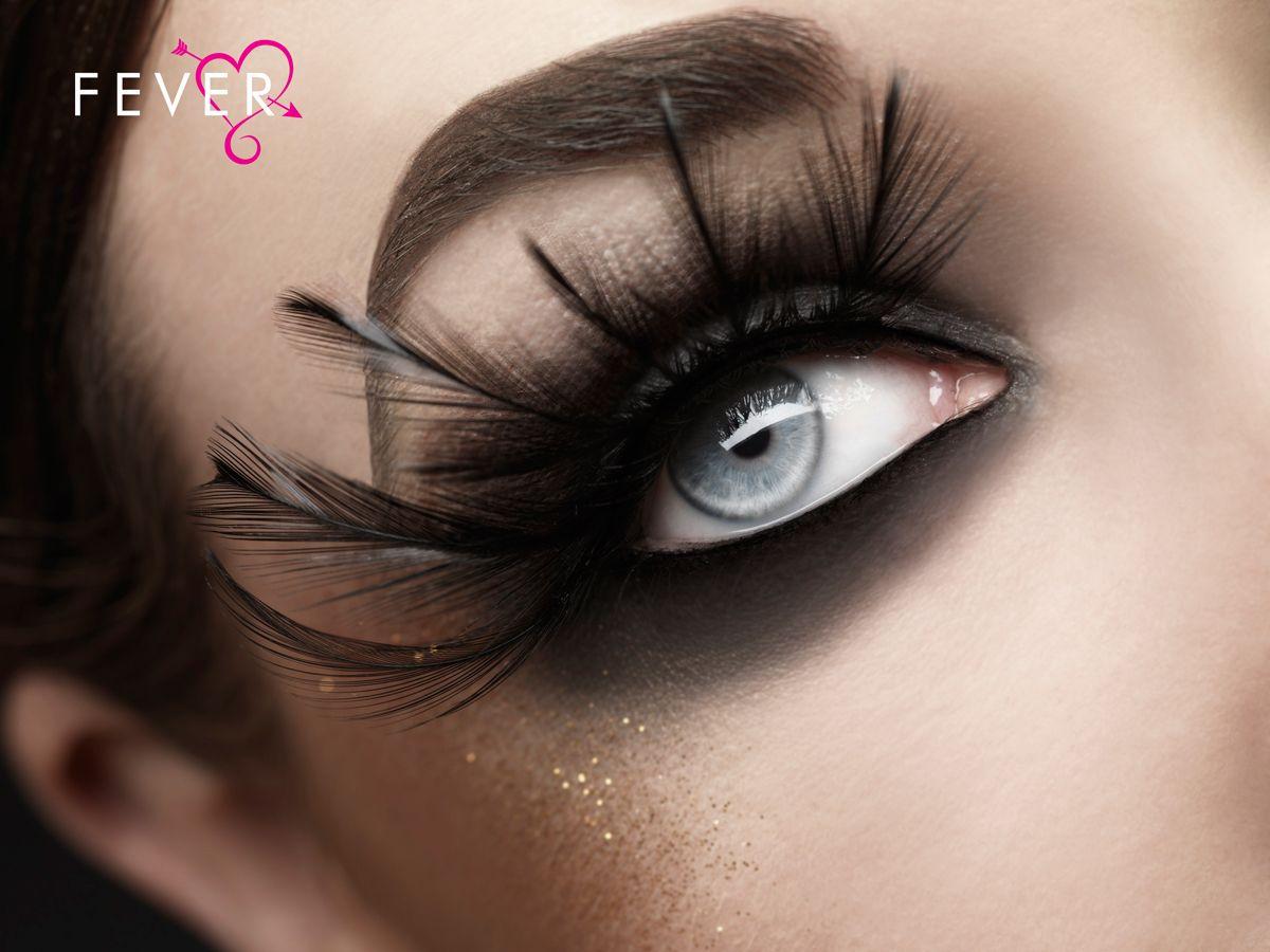 27276b3b660 Black Feather Plume Lashes inset 1   Halloween   False eyelashes ...