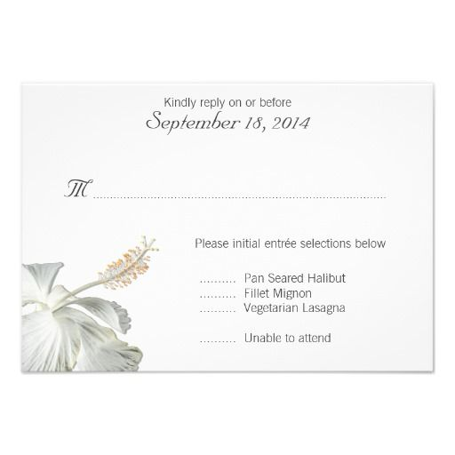 White Hibiscus Tropical Themed Rsvp Card With Wedding Menu